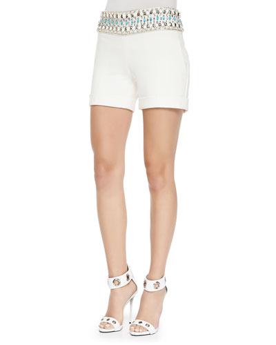 Bead-Waist Tailored Twill Shorts
