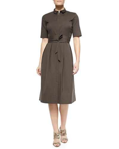 Rayanne Half-Sleeve Shirtdress W/ Tie Belt