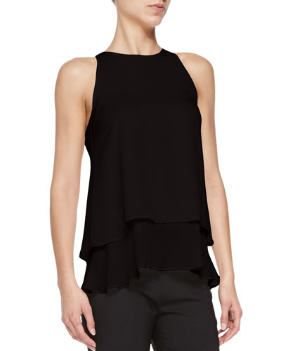Falice Layered-Hem Sleeveless Top