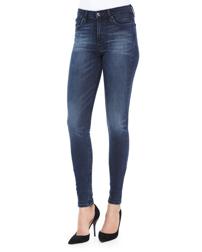 Alessia Flawless High-Rise Skinny Jeans, Blue/Black