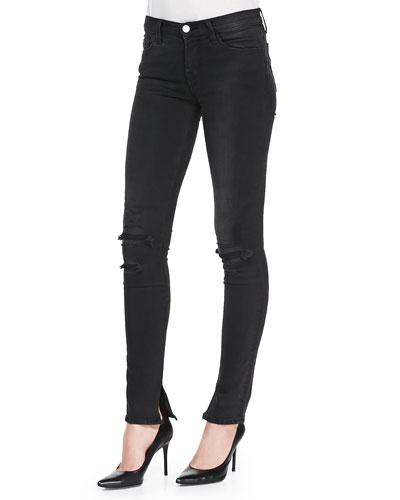 8112 Rail Mid-Rise Skinny Distressed Jeans, Break Up Black