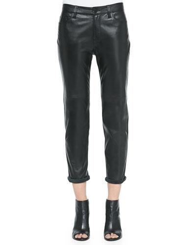 Casey Leather Boy-Fit Jeans, Black