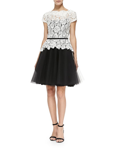 Quinn Cap-Sleeve Lace Dress