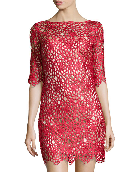 52608411 JAX Open Floral-Lace Sheath Dress, Ruby