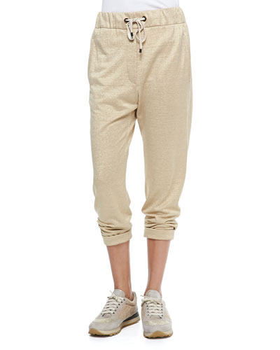 Drawstring Pull-On Pants, Gold