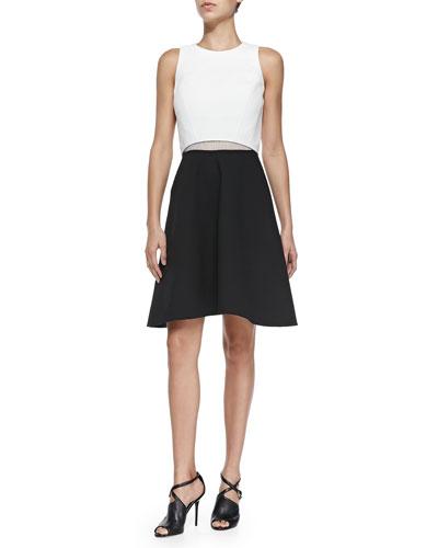 Two-Tone A-Line Poplin Dress