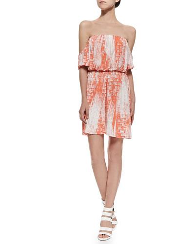 Off-The-Shoulder Dress W/ Shirred Print
