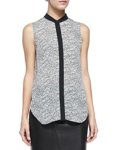 Kent Graphic Lace-Print Silk Shirt