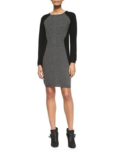 Colorblock Cashmere Long-Sleeve Dress