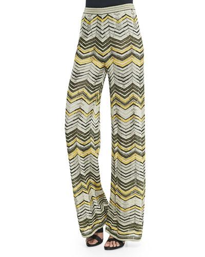 Wide-Leg Zigzag Pants