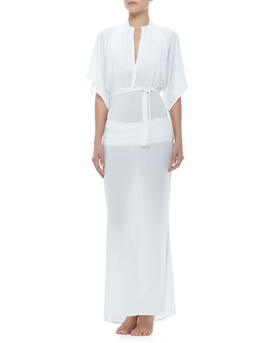 Obie Sheer Tie-Waist Coverup