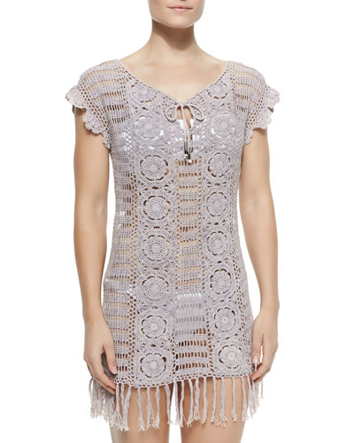 Crochet Coverup Dress, Pearl Grey