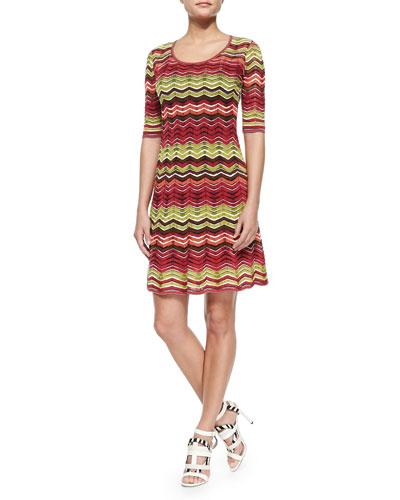 Zigzag Striped Knit Dress