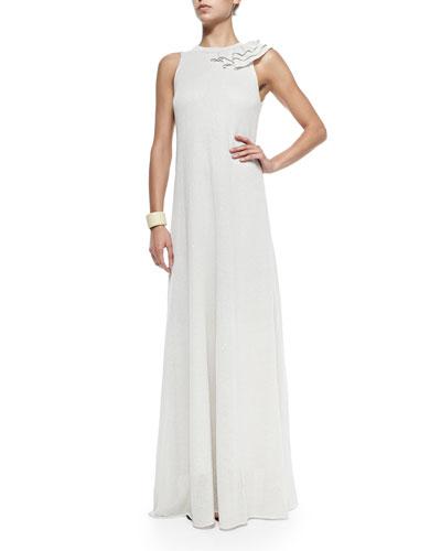Paillette Gown W/ Shoulder Ruffle