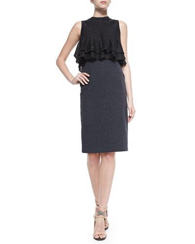 Sleeveless Dress W/ Ruffled Popover