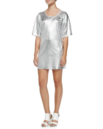 Short-Sleeve Silver Foil T-Shirt Dress, Optic White
