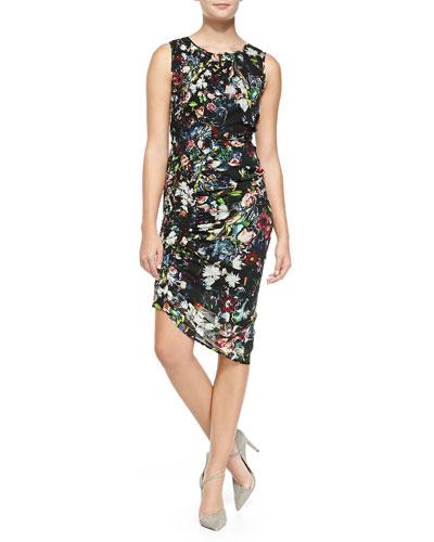 Smocked/Ruched Festival Floral Georgette Sheath Dress