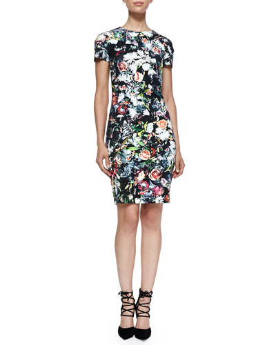 Short-Sleeve Floral Festival-Print Dress