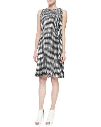 Sleeveless Pleated Check Dress W/ Sash