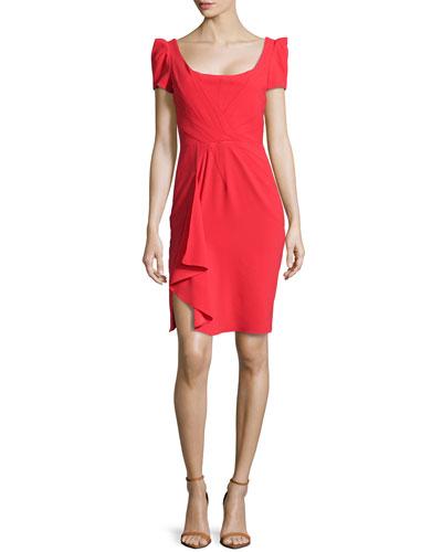Ruffle Cascade Short-Sleeve Dress