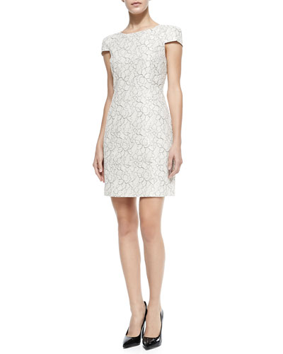 Cap-Sleeve Fitted Floral Lace Dress
