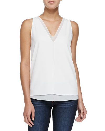 Harper Sleeveless Double-V Silk Top