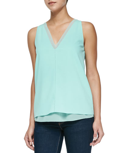 Harper Sleeveless Double-V Silk Top, Sea Glass