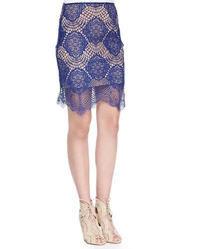 Grace Crocheted Lace Mini Skirt, Sapphire