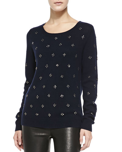 Myron Crystal Flowers Sweater