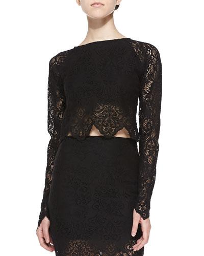 Long-Sleeve Lace Crop Top, Black