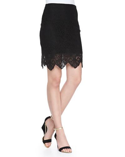 Crocheted Lace Mini Skirt, Black