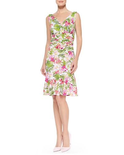 Belfiore Sleeveless Floral Cocktail Dress