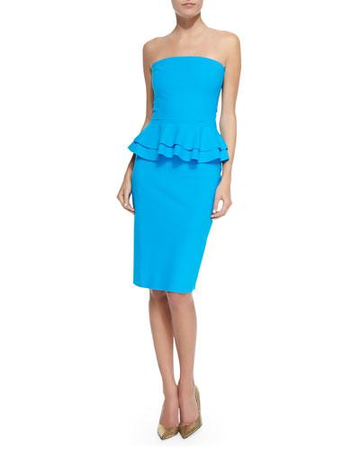 Madison Halter-Neck Cocktail Dress W/ Peplum