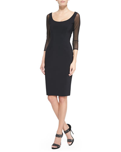 Marge 3/4-Sheer-Sleeve Sheath Cocktail Dress