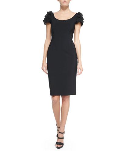 Pupa Puffed Illusion-Sleeve Cocktail Dress