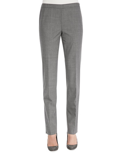 Melange Wool-Stretch Pants, Nickel