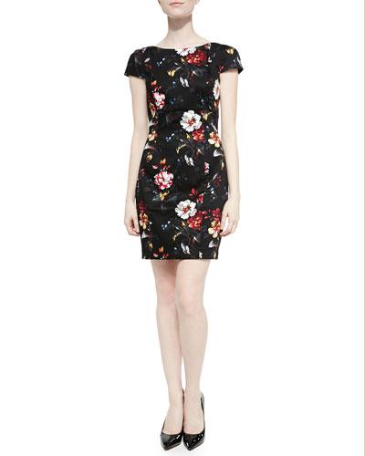 Gardini Floral-Print Sateen Dress