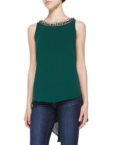 Daluska Sleeveless Blouse W/ Chain Neckline