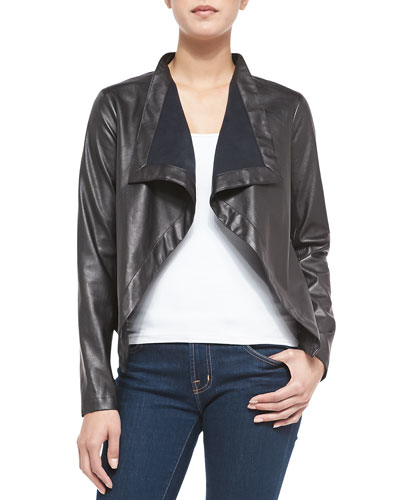 Faux-Leather Jacket W/ Draped Front