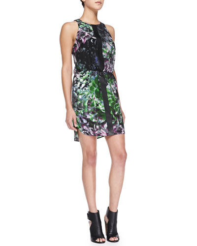 Sleeveless Floral Dress W/ Leather Strips