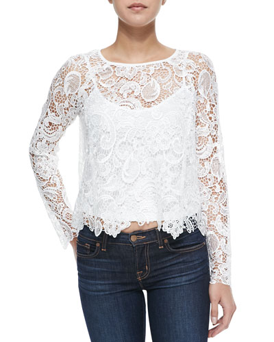 Long-Sleeve Scalloped Lace Top
