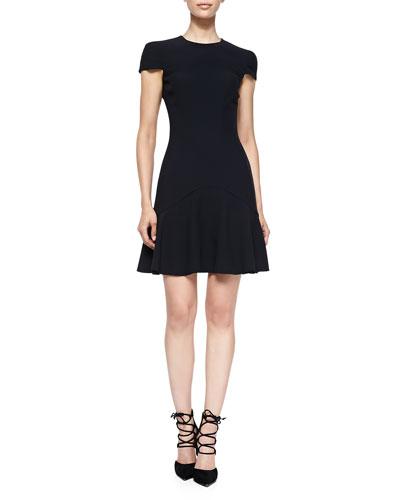 Seamed Dress with Peplum Skirt, Black