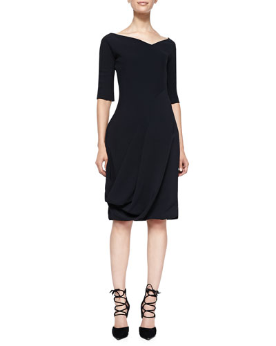 3/4-Sleeve Dress with V'd Neck & Bubble Skirt, Black