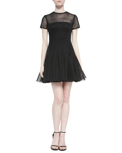 Short-Sleeve Pleated illusion Dress