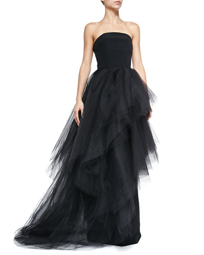 Strapless Tulle Cascade Tiered Ball Gown