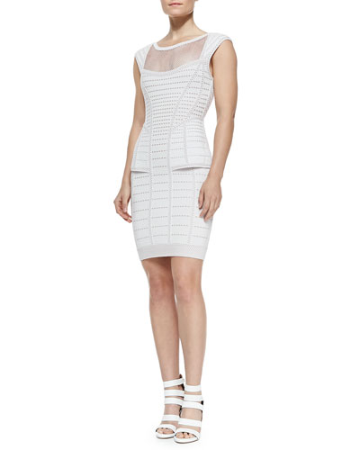 Hindi Mesh-Inset Peplum Dress, Metallic Pearl