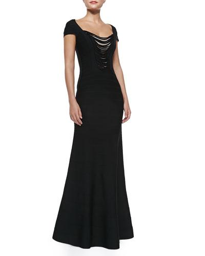 Lora Draped Bandage Gown, Black