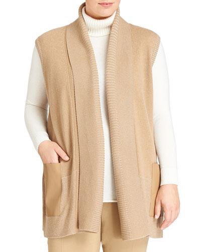 Pleated Wool Vest w/Bonded Pockets, Camel, Women's