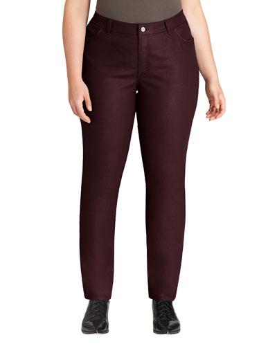 Curvy Waxed Slim-Leg Jeans, Rhubarb, Women's