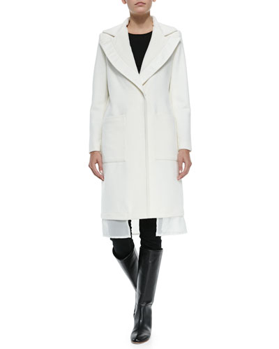 Wool Coat W/ Leather-Trim & Chiffon Hem
